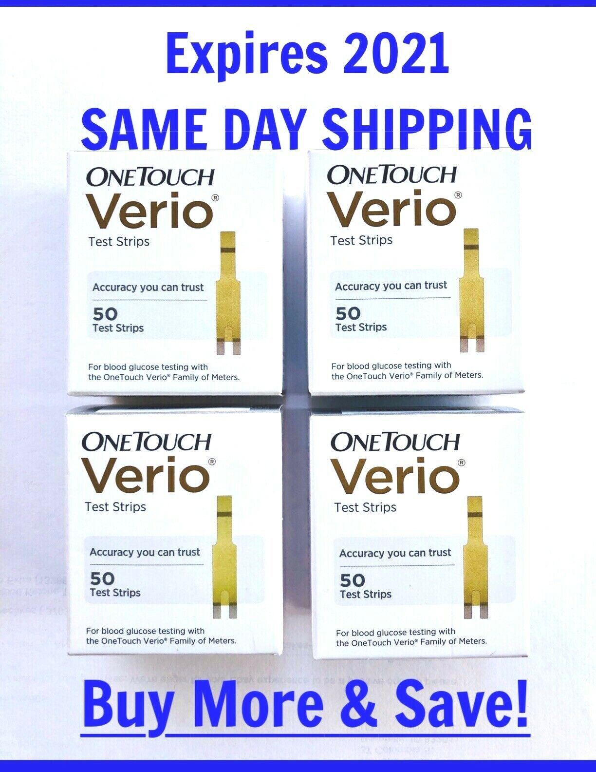 One Touch VERIO Test Strips 200 qty Glucose 2021-JULY OneTou