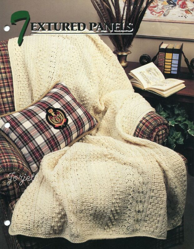Textured Panels Afghan ~ Classic One-Piece Design crochet pattern leaflet