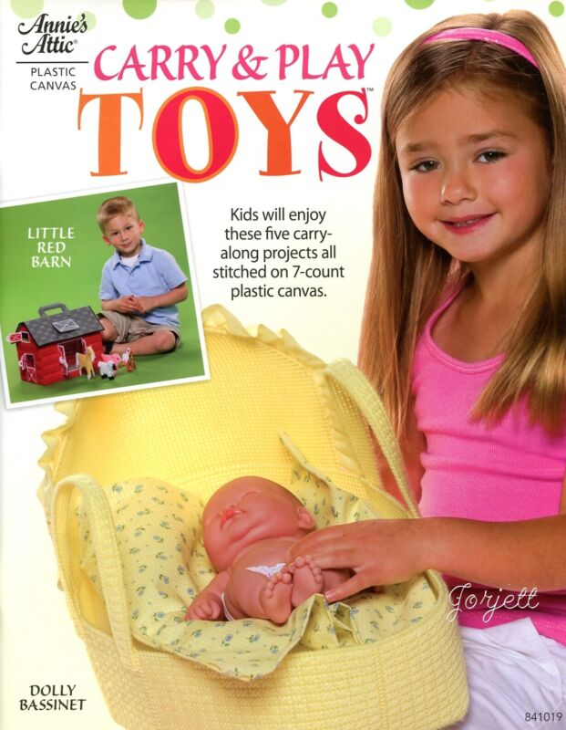 Carry & Play Toys ~ Bassinett Tools Barn & More plastic canvas pattern book NEW