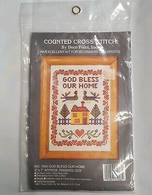 Deco Point - Deco Point Inc God Bless Our Home #1906 Counted Cross Stitch Kit 1989