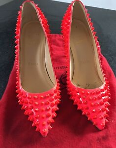 Authentic Christian Louboutin Spiked Pigalle 100mm Rose US6 36