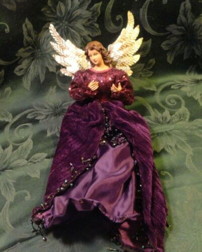 """CHRISTMAS ANGEL TREE TOPPER/WALL HANGING 18"""" L GOLD METAL WINGS RESIN HEAD/HANDS"""