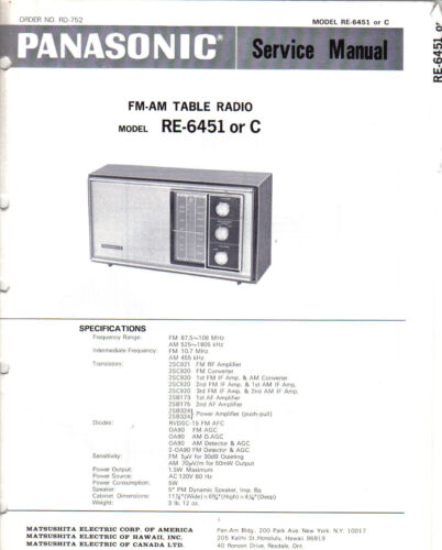 PANASONIC SERVICE MANUAL FOR RE-6451  OR C