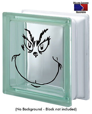 How The Grinch Stole Christmas Glass Block Decal Holidays Decor - Glass Block Decoration