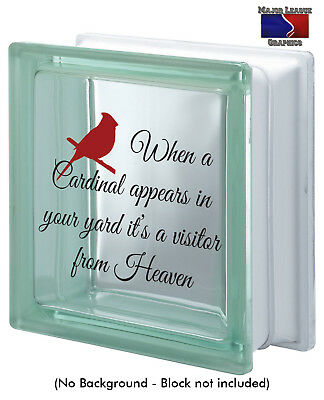 When A Cardinal Visits Memorial Visitor from Heaven Love Glass Block Decal Decor - Glass Block Decoration