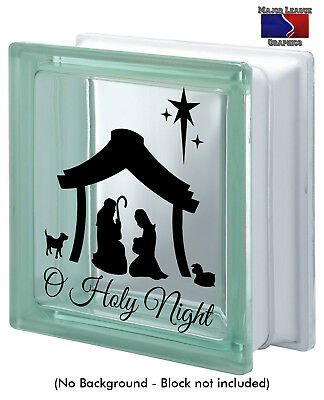 O Holy Night Merry Christmas Glass Block Decal Sticker Holidays Home Decor - Glass Block Decoration