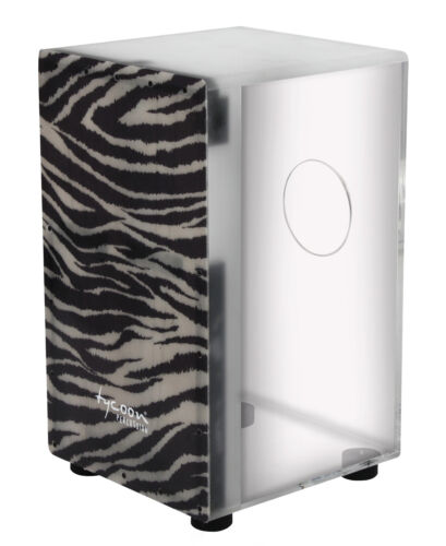 Tycoon Percussion Clear Acrylic Fibreglass Cajon with Zebra Print Frontplate
