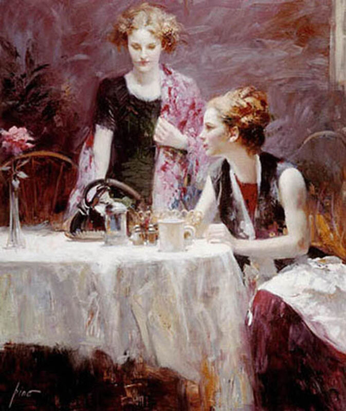 """Pino Daeni """"after Dinner"""" Hand Enbellished Giclee Canvas S/nw/coa Ebaylow-offer?"""