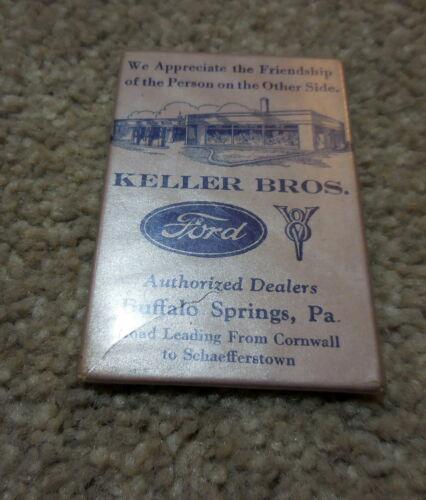 Original ca. 1935 KELLER BROS. FORD POCKET MIRROR Lititz & Buffalo Springs PA