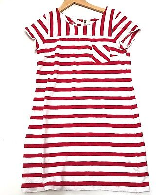 Old Navy Dress Small Shift Striped Red White Pocket Zipper Nautical Womens