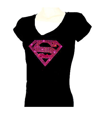 Women's  T-shirts rhinestones Iron on SUPER GIRL HOTPINK Bling, Small to 3XL - Supergirl Shirts