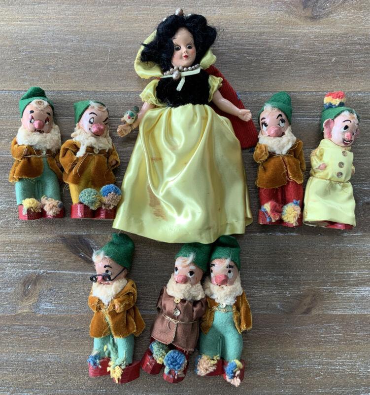 VINTAGE SNOW WHITE Seven DWARFS OOAK Folk Art Dolls Lot