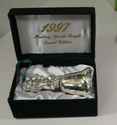 "1997 Madison Avenue Silverplated Santa Bell ""Making Spirits Bright"" NIB"