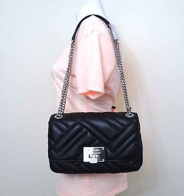 Michael Kors Vivianne Quilted Leather Medium Shoulder Flap Bag in Black