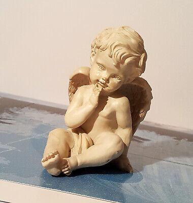 Angel Figurine Cherub Baby Statue Inquisitive Indoor Outdoor Garden Decor Resin  - Angel Decor