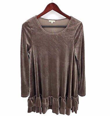 EASEL Anthropologie Velvet Swing Dress Ruffles Boho Purple Brown L/S Medium