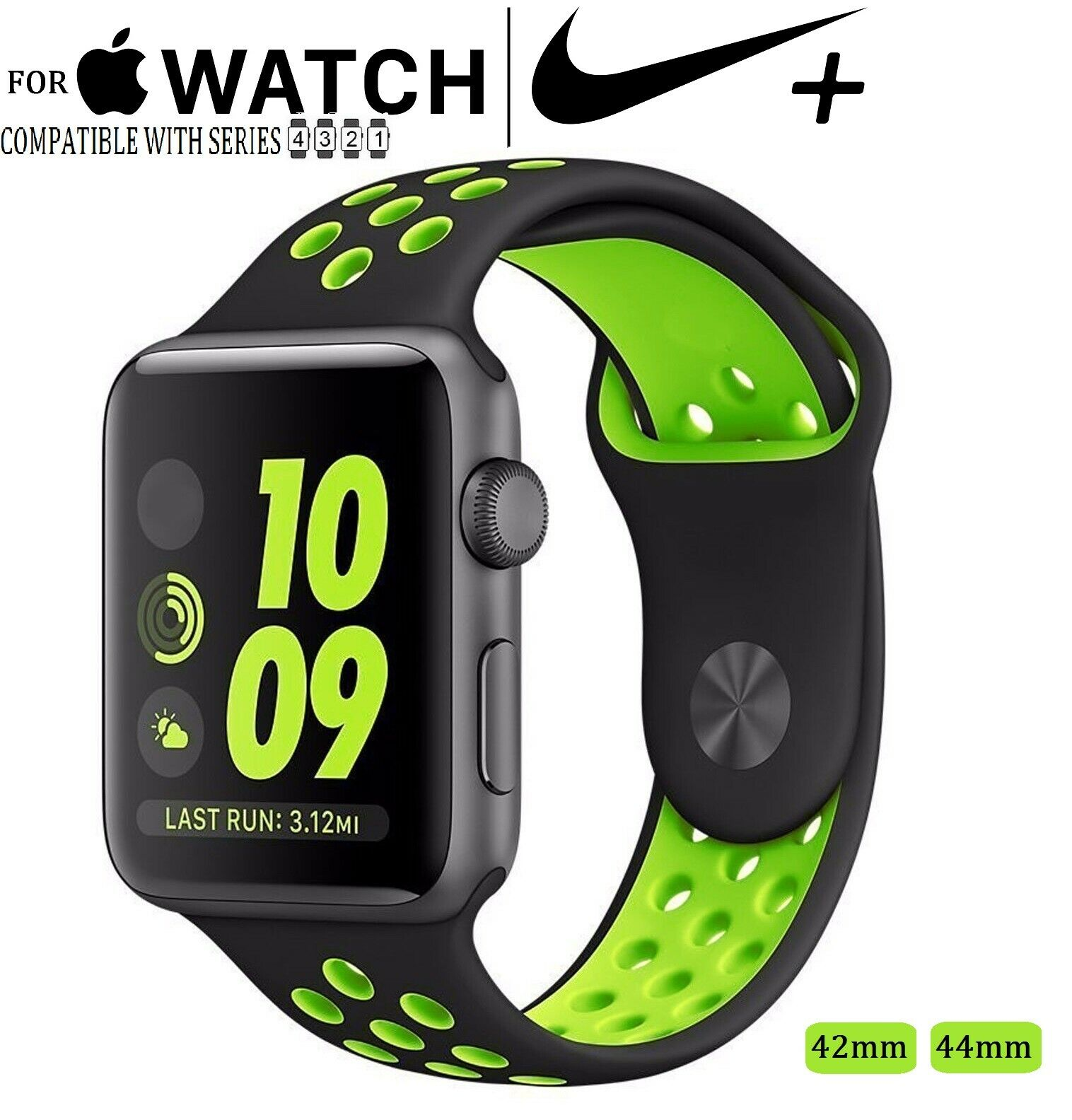 For Apple Watch Nike+ 42 44mm Sport Silicone Replacement Fitness Band Series 1-4 Jewelry & Watches
