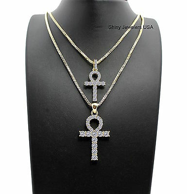 Mens  Gold Iced Out Micro Double Ankh Pendant Box Chain Necklace Hip Hop