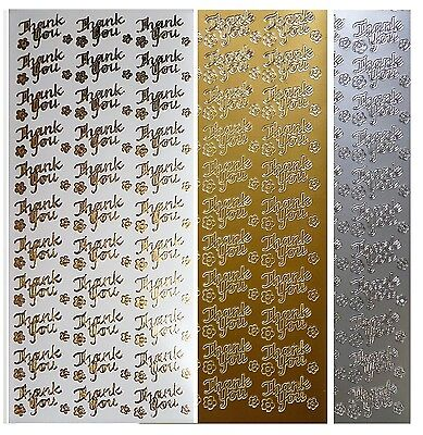THANK YOU Peel Off Stickers Flowers Wedding Birthday Anniversary Gold or Silver (Anniversary Stickers)