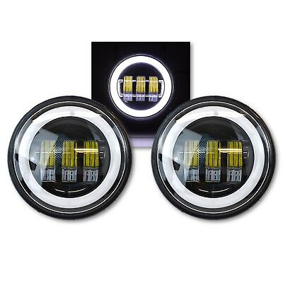 Motorcycle Black Passing Auxiliary Spot Fog White Halo Angel Eye LED Light Pair