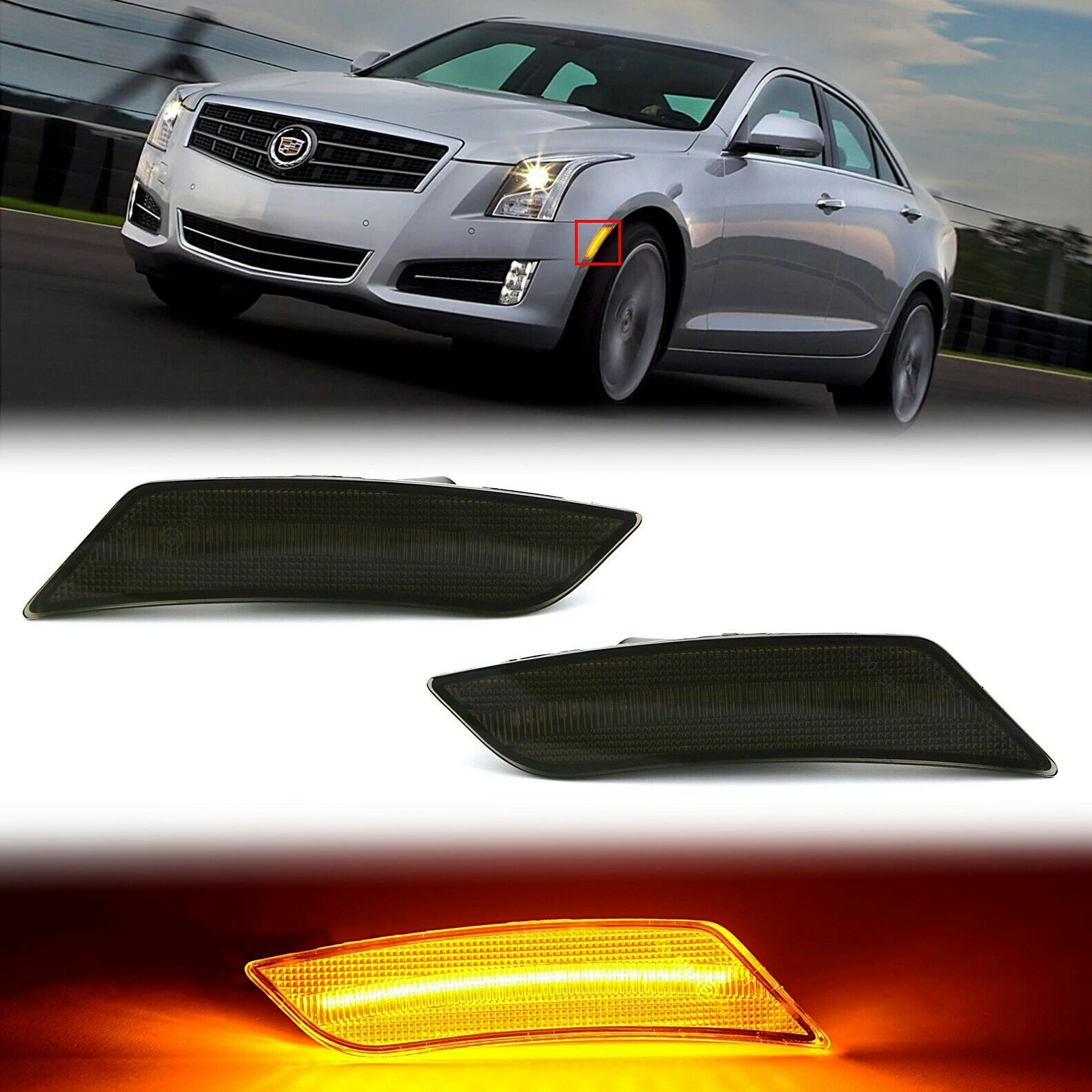 Amber LED Smoked Black Side Marker Lens Pair For 13-14 Cadillac ATS / 17-19 XT5