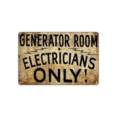 Generator Room Electricians Only Vintage Retro Metal Sign Decor Art Shop Bar