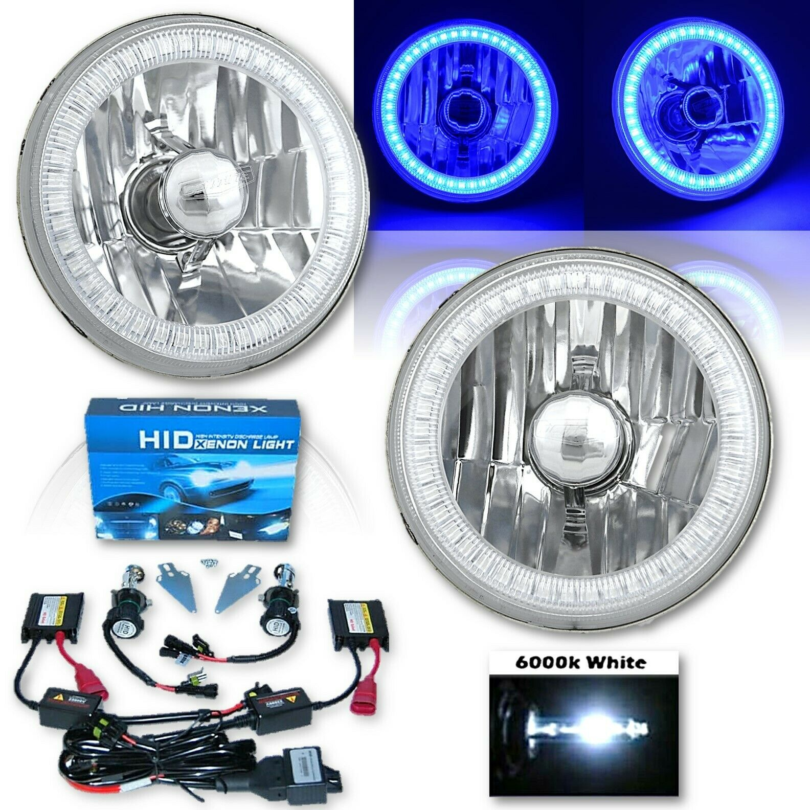 "5-3/4"" Blue SMD LED Halo Crystal Clear Glass H4 Headlight & 6k HID Bulb Kit Pair"