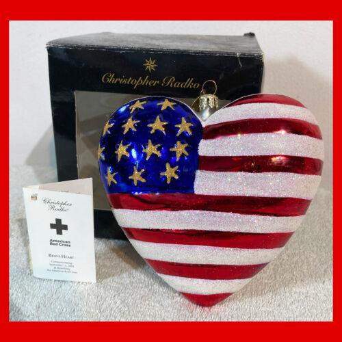 Rare CHRISTOPHER RADKO Christmas Ornament BRAVE HEART 9/11 HEROES TRIBUTE