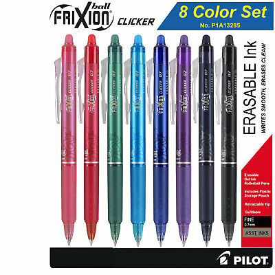 Pilot Frixion Clicker 07 13285 Retractable Erasable Gel Ink Pens 8 Color Set