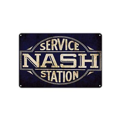 Service Nash Station Gas Oil Decor Art Shop Cave Bar Vintage Retro Metal Sign