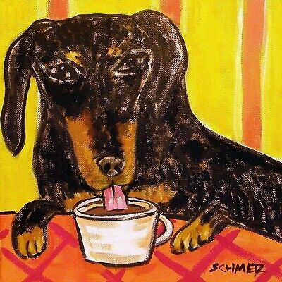 black and tan dachshund  coffee animal dog art  tile ceramic modern artist for sale  Guyton