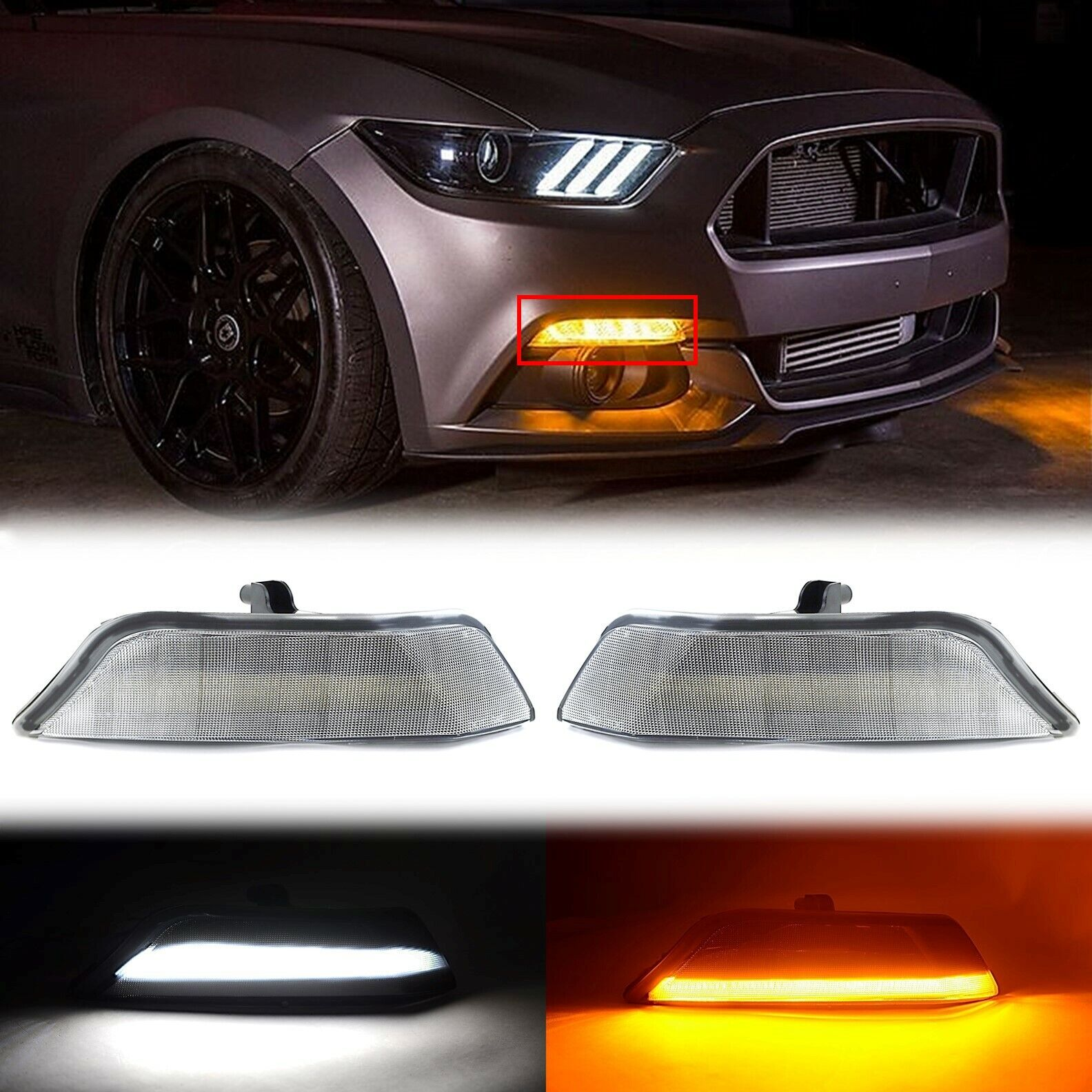 LED White Amber Turn Signal Clear Front Corner Lens Pair For 15-17 Ford Mustang
