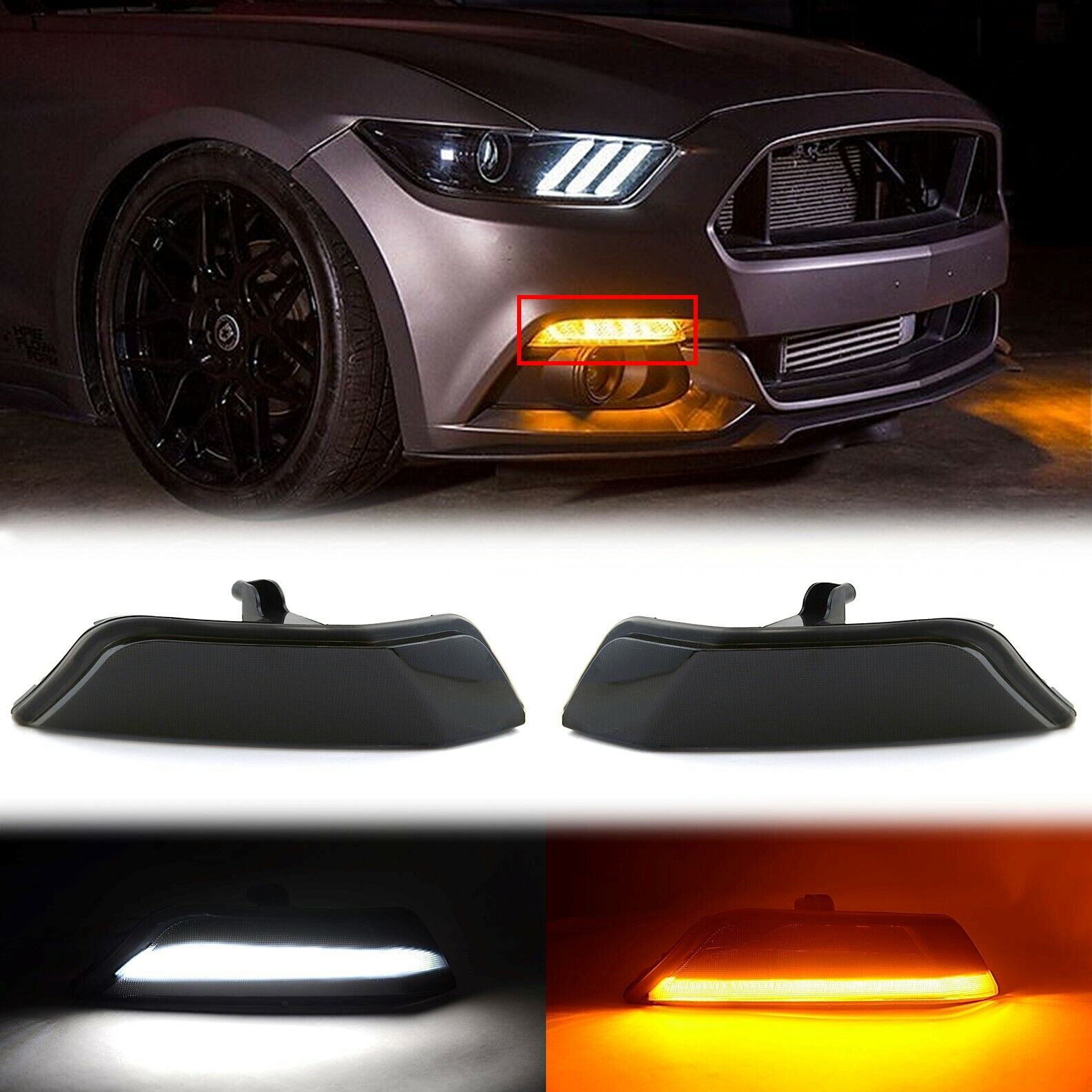 LED White Amber Turn Signal Smoked Front Corner Lens Pair For 15-17 Ford Mustang
