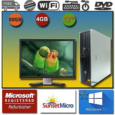 "1 FAST HP Desktop Computer AMD Dual Core 4GB DVD 17"" LCD Monitor Windows 10 WiFi"