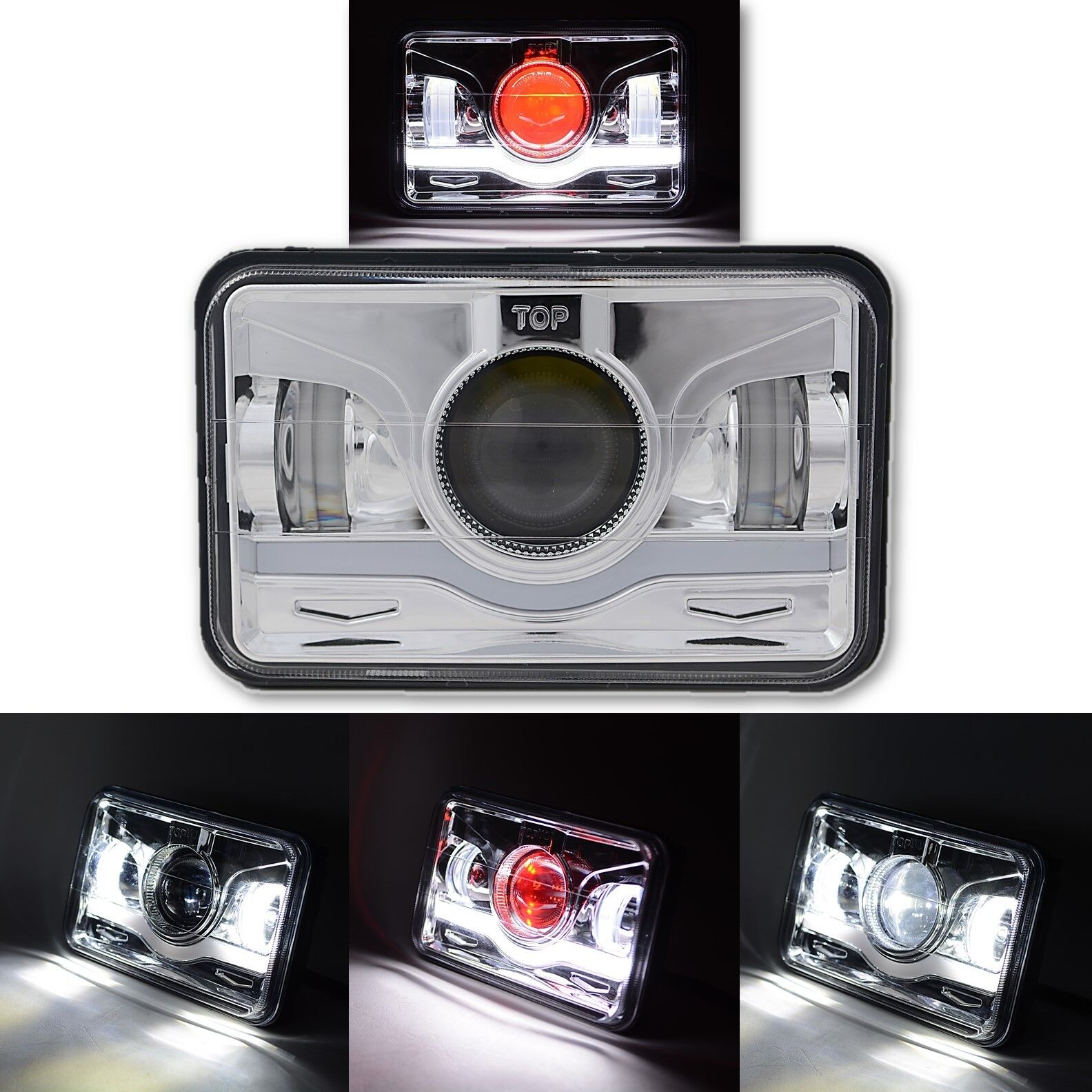 4X6 Chrome LED DRL  Octane Light Clear Sealed Beam Headlamp Headlight Each