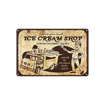 Visit Local Ice Cream Shop For Refreshing Treats Stand Truck Retro Vintage Sign