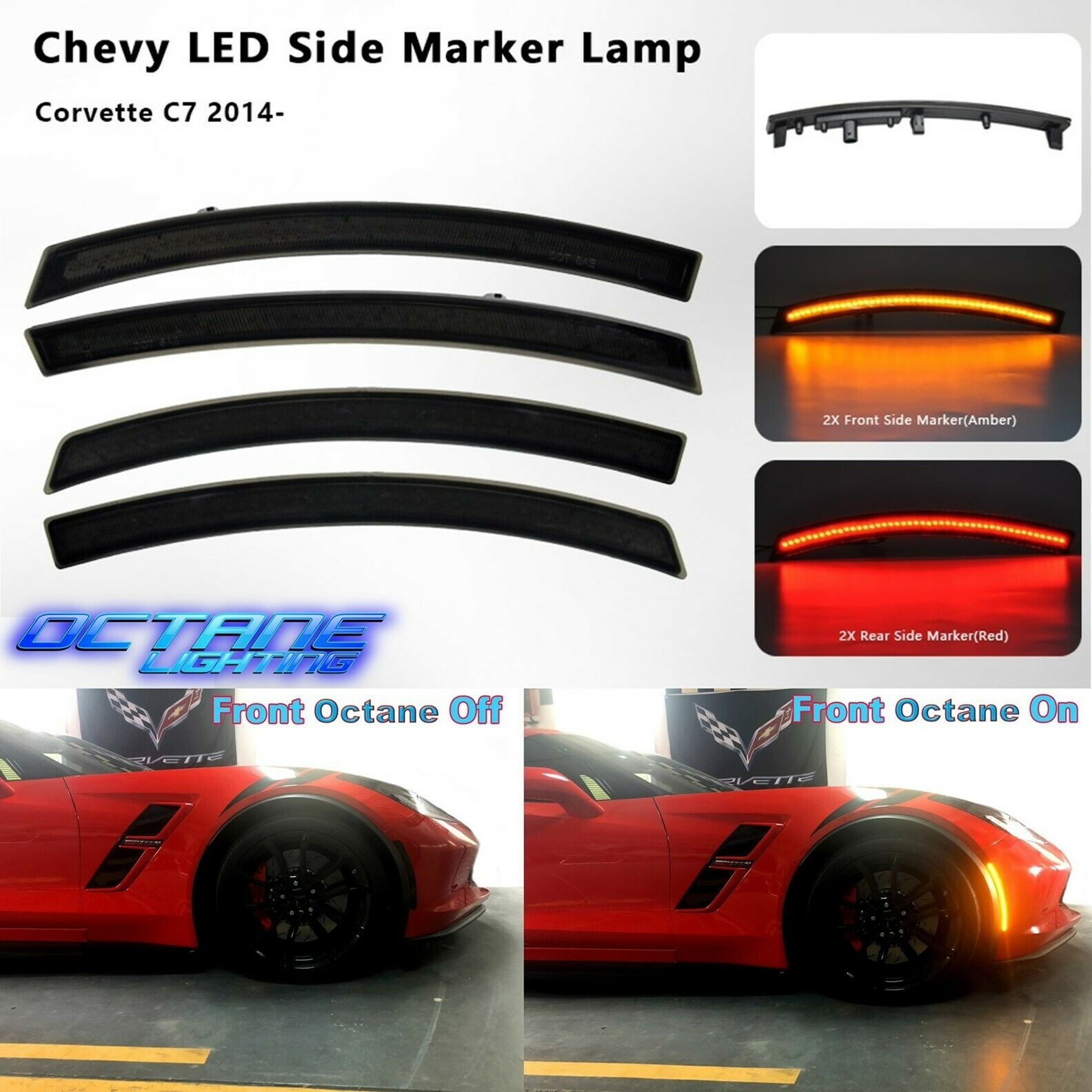 Smoked Front & Rear LED Side Marker Light Lens Set For 2014-2019 C7 Corvette