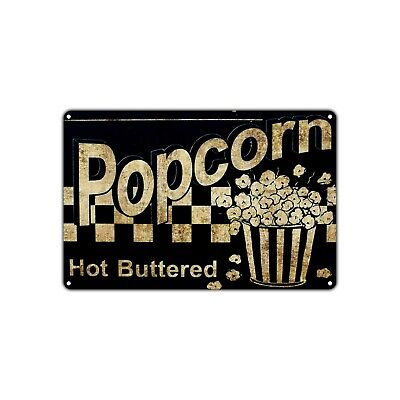 Popcorn Hot Buttered Wall Decor Art Shop Man Cave Bar Vintage Retro Metal Sign