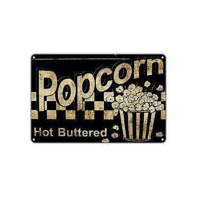 Popcorn Hot Buttered Wall Decor Art Shop Man Cave Bar Vintage Retro Metal Sign