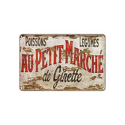 Poissons Lgumes Au Petit Marche De Ginette Vintage Retro Metal Sign Decor Shop
