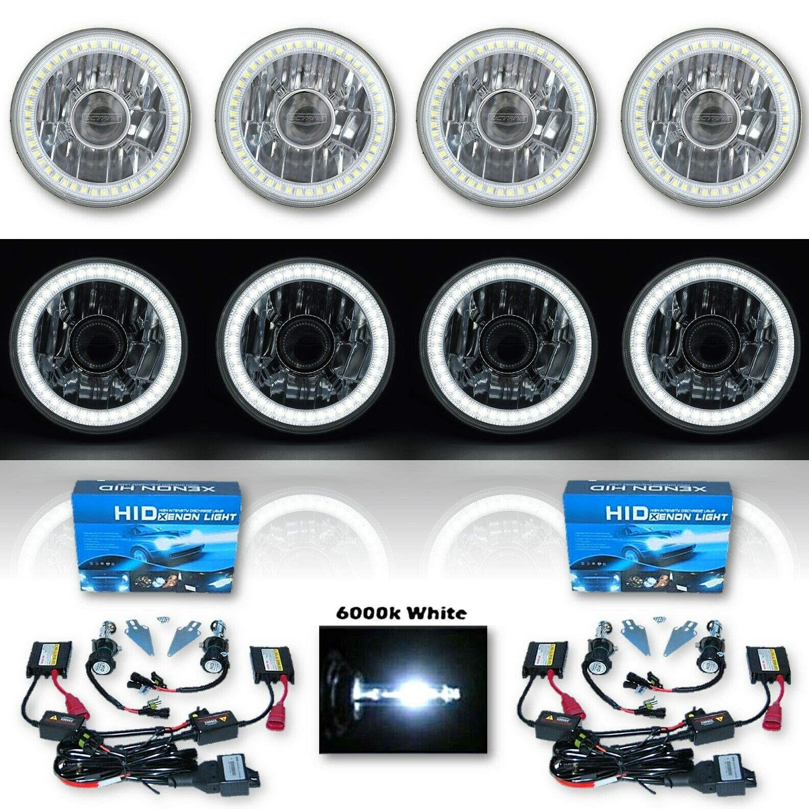 "5-3/4"" Projector White SMD LED Halo Crystal H4 Headlight & 6k HID Bulb Set of 4"