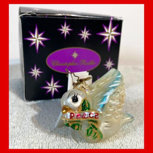 Rare CHRISTOPHER RADKO Christmas Ornament PEACE DOVE GEM 2002 Little Gems
