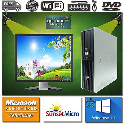 "HP AMD ATHLON DUAL CORE Desktop 1800MHz 4GB 160GB DVD 17"" LCD WIFI Windows 10"