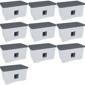 10-x-45L-CONTAINER-PLASTIC-STORAGE-BOX-LARGE-45LTR-LITRE-BOXES-CLEAR-WITH-LIDS