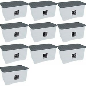 10 x 45L CONTAINER PLASTIC STORAGE BOX LARGE 45LTR LITRE BOXES CLEAR WITH LIDS