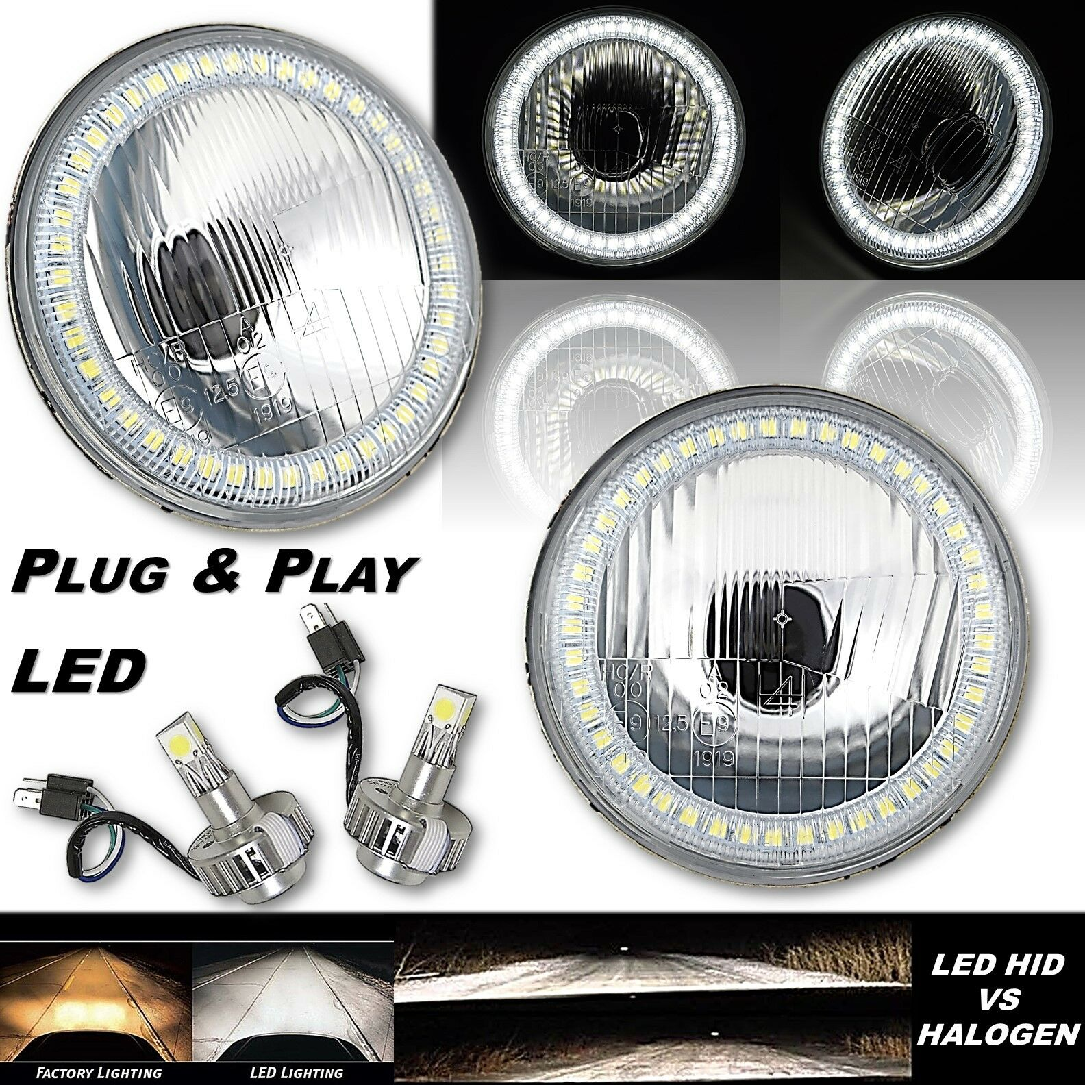 5-3/4 White Stock SMD Halo Light Angel Eye Headlight w/ 360° LED Lamp Bulb PAIR