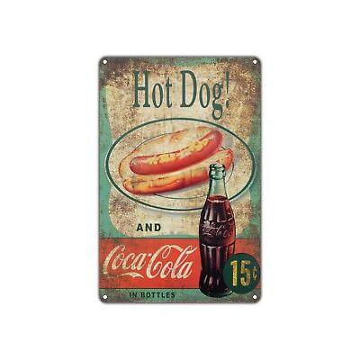 Hot Dog And Coca Cola Decor Art Shop Man Cave Bar Vintage Retro Metal Sign