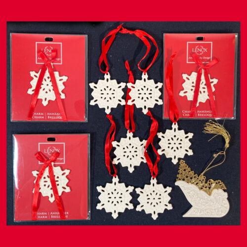 Set of 9 LENOX Pierced Porcelain Snowflake Christmas Ornaments + 1 Santa Sleigh
