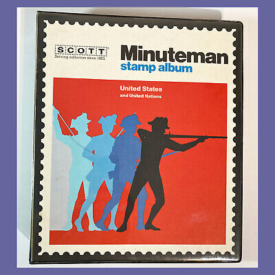 US Scott Minuteman STAMP ALBUM 1847-1979 with Some Stamps - FREE SHIPPING!