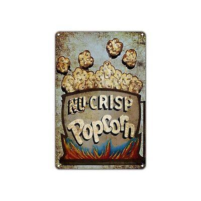 Fresh Crisp Popcorn Movie Theater Vintage Retro Metal Sign Decor Art Shop Bar